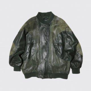old circle python mix leather jacket