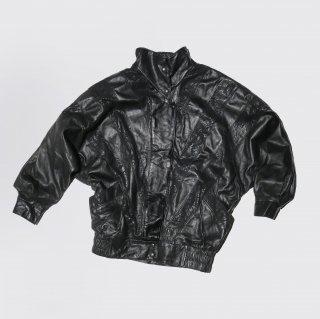 old geometric dolman sleeve leather jacket