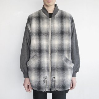 old ombre check wool blouson