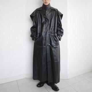 old detachable flap super long leather coat