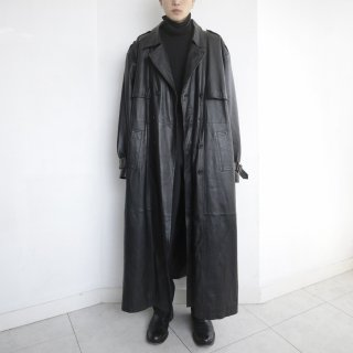 old super long leather trench coat