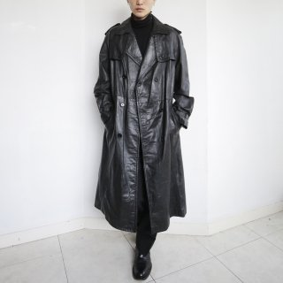 old double gun flap leather coat