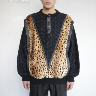old faux leopard combi sweater