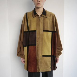 old suede/knit combi zipped shirt