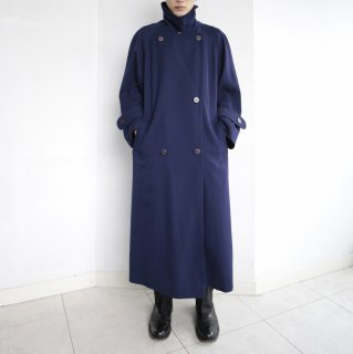 old gabardine stand collar double breasted coat