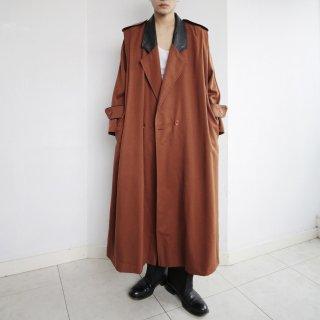 old pleats gabardine leather collar coat