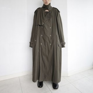 old oversized stand collar trencj coat