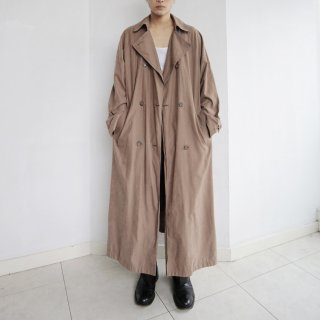 old super long faux skin trench coat