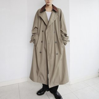 old super long switch collar trench coat