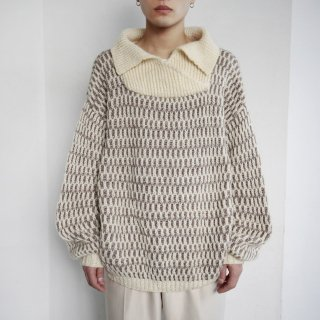 old big neck combi loose sweater