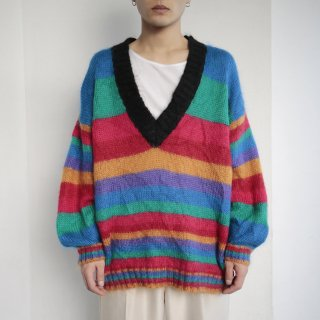 old border mohair deep v sweater