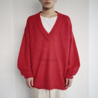 old low gauze mohair deep v sweater