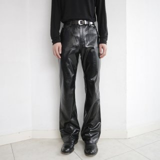 old pvc python flare trousers