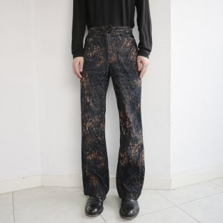 old flock leopard denim trousers