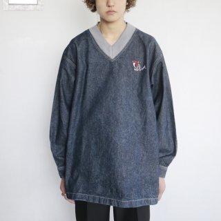 old v neck loose denim pullover