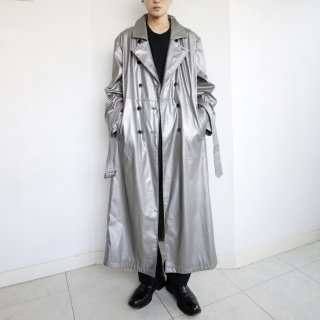 old super long techno trench coat
