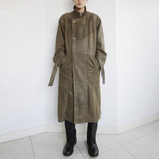 old double front leather coat