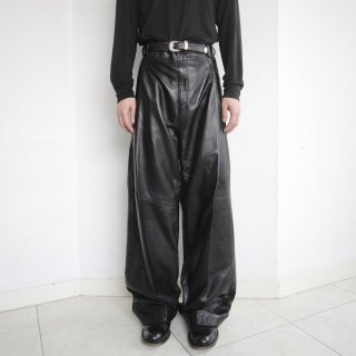 old tuck wide leather trousers