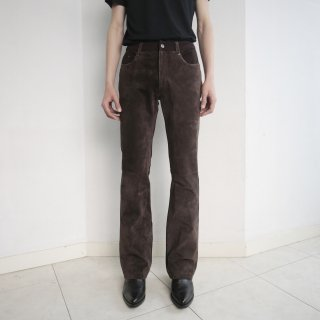 old suede combi flare trousers