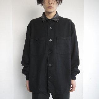 old leather collar wool shirt