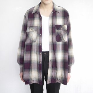 old double face loose ombre check shirt