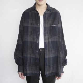 old loose check flannel shirt