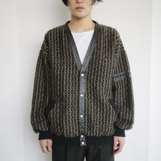 old leather combi tweed jacket