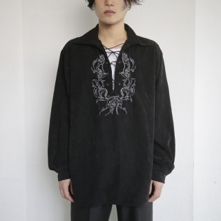 old broderie lace up shirt