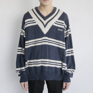 old IZOD border tilden sweater