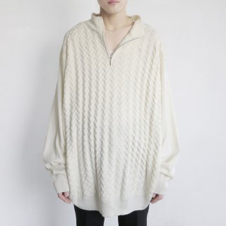 old 3d cable loose half zip sweater