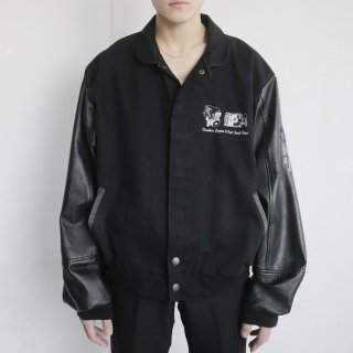 old leather sleeve loose varsity jacket