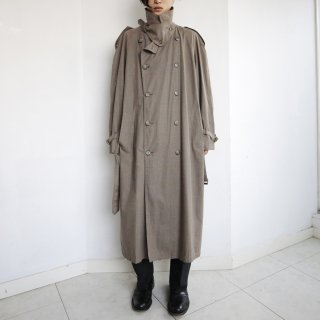 old belted super long check trench coat