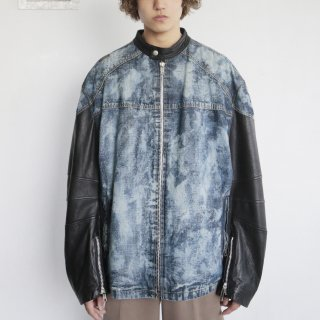 old AKADEMIKS leather sleeve breached denim jacket