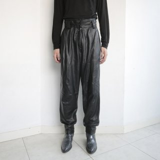 old high waist tapered leather trousers
