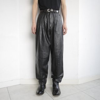 old pleats tack tapered leather trousers