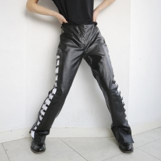 old side ring flare leather trousers