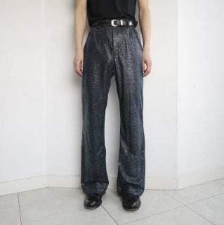 old faux python flare trousers