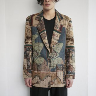 old world map tapestry tailored jacket