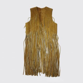 vintage super long fringe vest