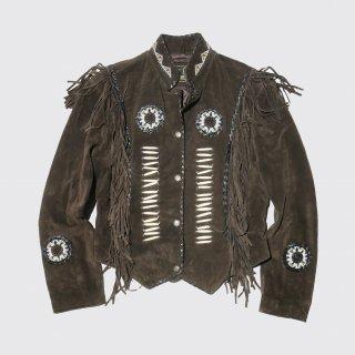vintage custom fringe suede jacket