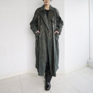 old flower poly trench coat