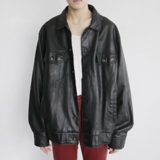 old wilson oversized leather trucker jacket