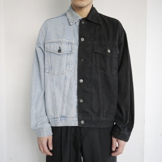 remake half&half trucker jacket