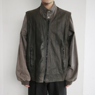 old leather combi jacket