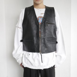 old zipped leather vest