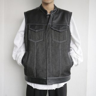 old leather combi denim vest
