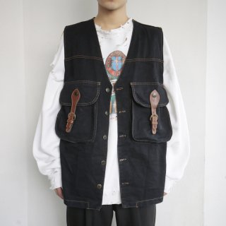 old belted denim vest