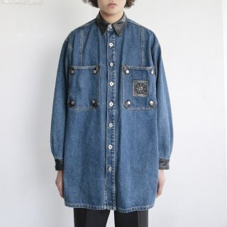 old leather combi denim jacket