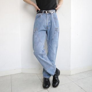 remake double knee denim pants