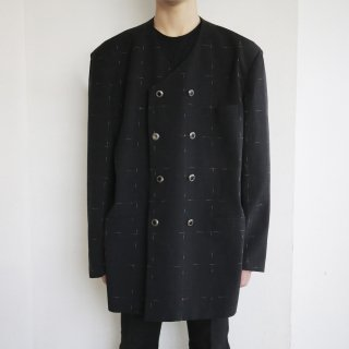 old double breasted collar less jacket